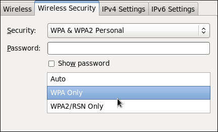 Editing the Wireless Security tab and selecting the WPA protocol