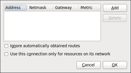 Configuring static network routes