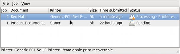 GNOME Print Status