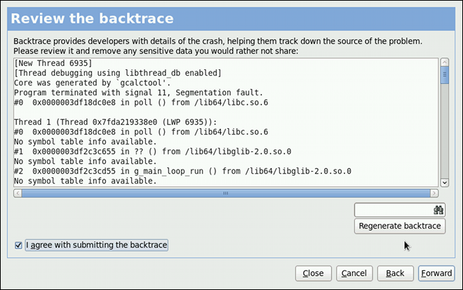 Reviewing the problem backtrace