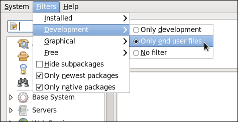 Filtering out development packages from the list of Find results