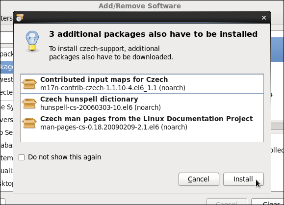 Installing the Czech Support package group