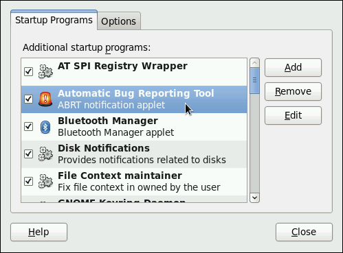 Setting ABRT notification applet to run automatically.