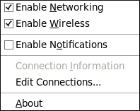 The NetworkManager applet's context menu