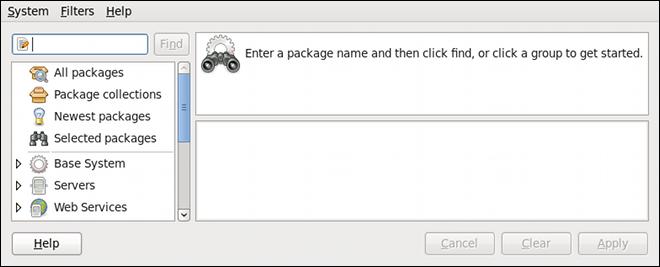 PackageKit のソフトウェアの追加/削除ウィンドウ