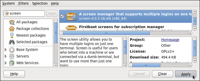 PackageKit のソフトウェアの追加/削除ウィンドウでのパッケージの表示とインストール