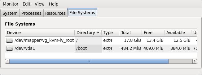 システムモニター — ファイルシステム