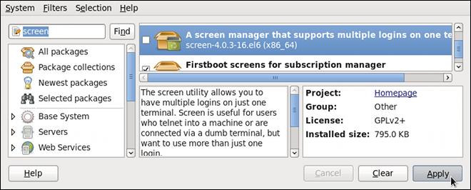 PackageKit のソフトウェアの追加/削除ウィンドウでのパッケージの削除