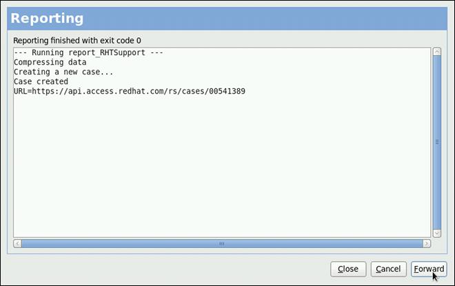 Red Hat カスタマーサービスデータベースに問題を報告中