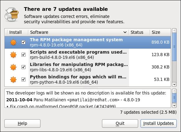 ソフトウェア更新を使用した更新のインストール