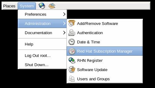 Red Hat サブスクリプションマネージャーメニューオプション