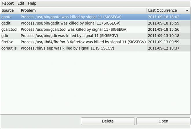 ABRT GUI の実行例