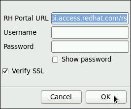 Red Hat カスタマーサポートの設定ウィンドウ