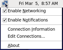 NetworkManager アプレットのコンテキストメニュー