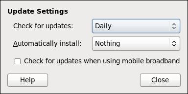 PackageKit の更新の確認頻度の設定