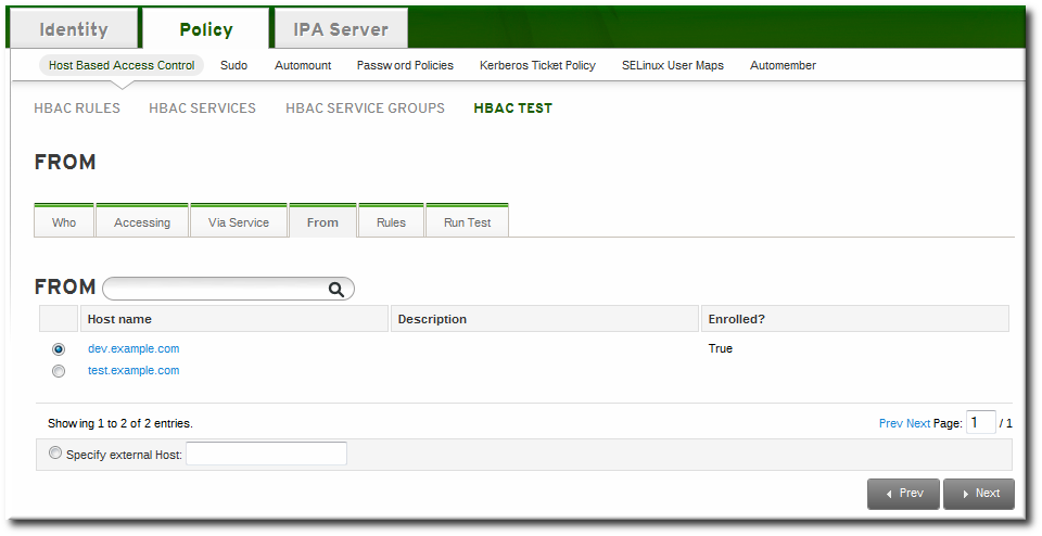 The From Tab to Set up an HBAC Test