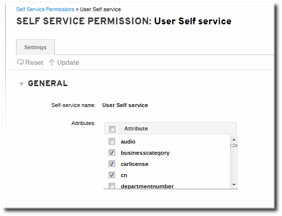Self-Service Edit Page