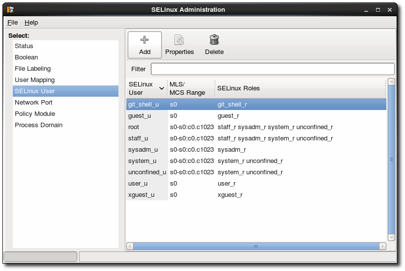 SELinux Users in the SELinux Manager