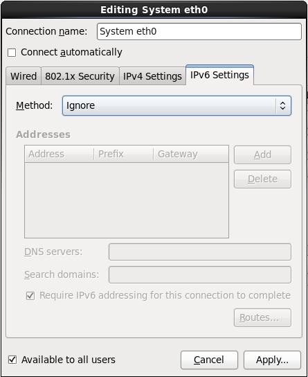 The IPv6 Settings tab