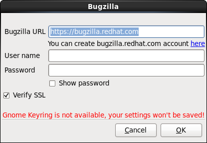 Enter Bugzilla authentication details