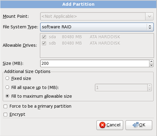Create a software RAID partition