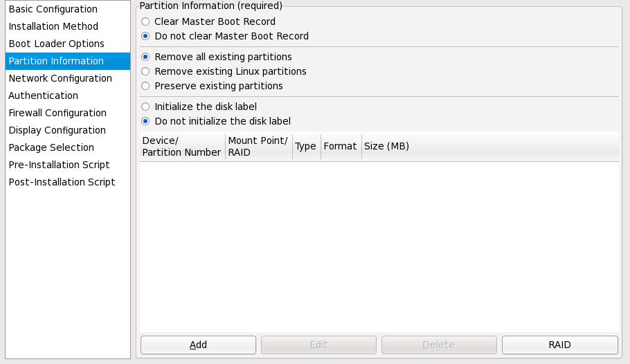 Partition Information