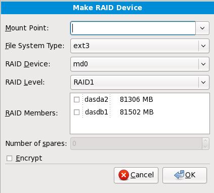 Create a RAID device