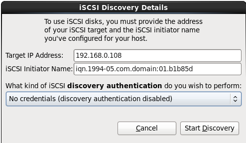 The iSCSI Discovery Details dialog