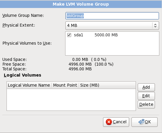 Make LVM Volume Group
