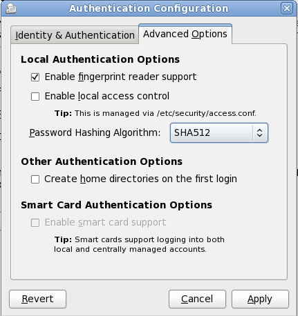 Firstboot authentication Advanced Options screen