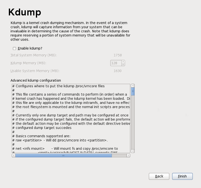 Kdump screen