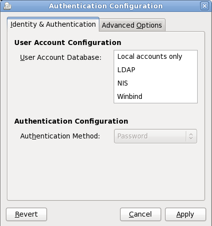 Firstboot Authentication Configuration screen