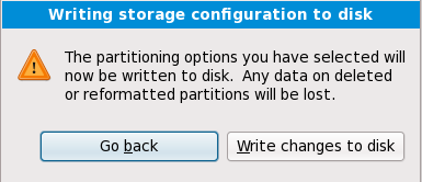 Writing storage configuration to disk