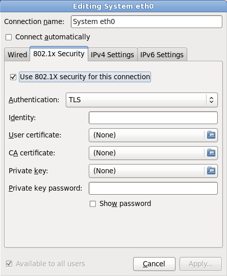 The 802.1x Security tab