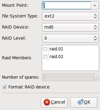 Creación del dispositivo de RAID software