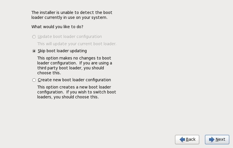 El cuadro de diálogo de actualización del gestor de arranque