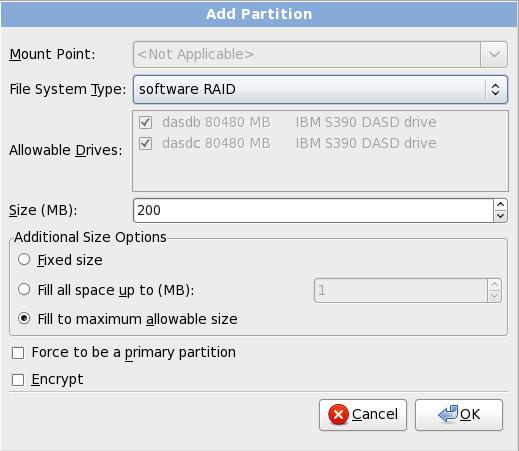 Crear una partición de RAID software