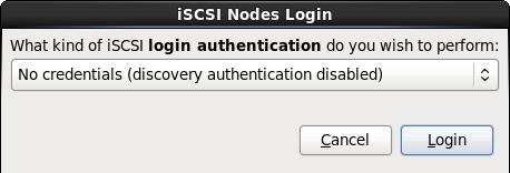 El diálogo de inicio de sesión de Nodos iSCSI