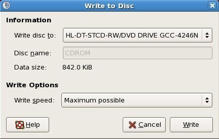 Diálogo de escritura a disco del creador de CD/DVD