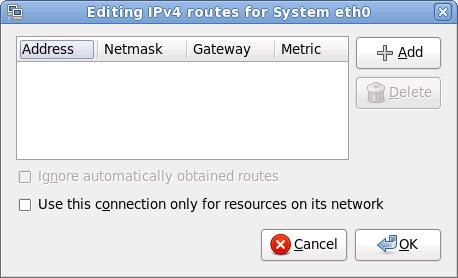 El cuadro de diálogo de edición de rutas IPv4