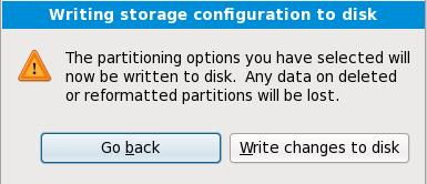 Escribir la configuración de almacenaje en disco