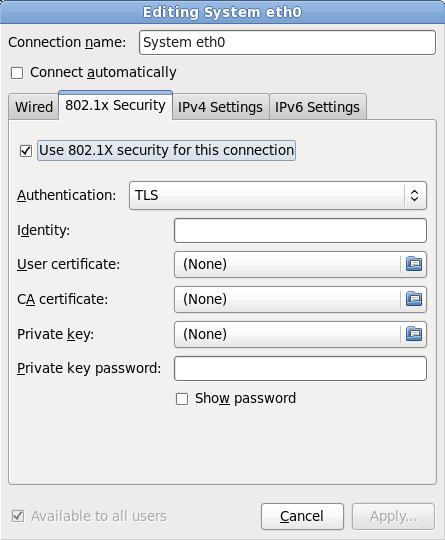 La pestaña 802.1x Security