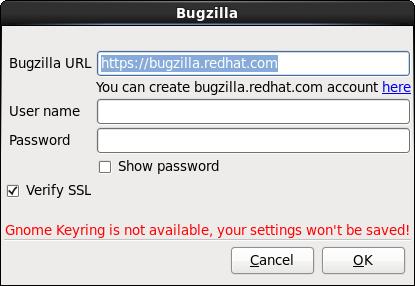 Saisissez les détails d'authentification Bugzilla