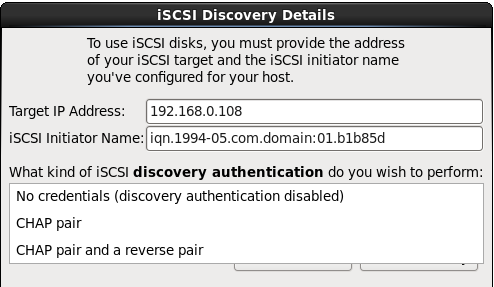 Authentification de la découverte iSCSI