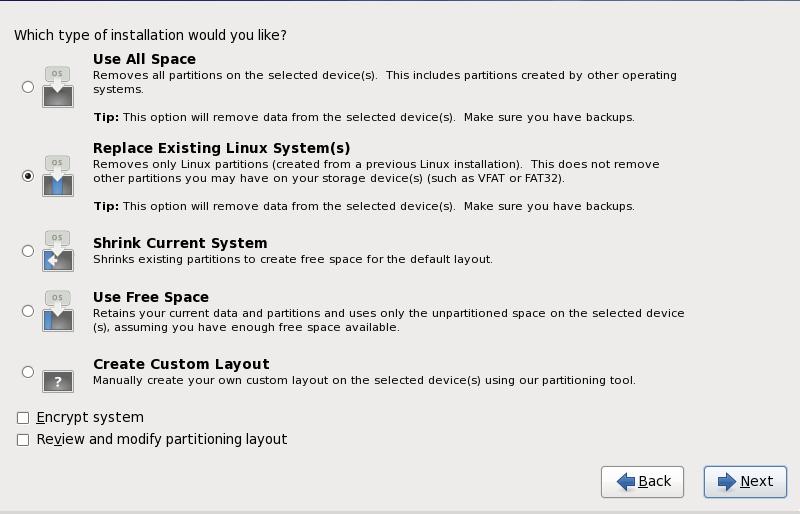 Configuration du partitionnement de disque