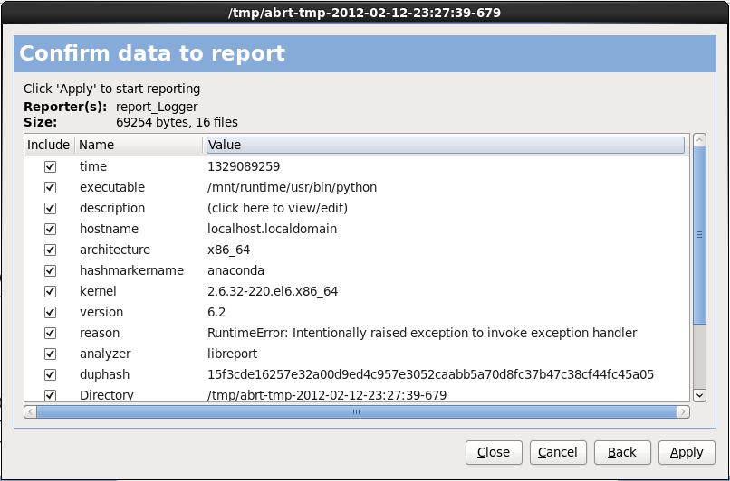 Confirmer les données du rapport