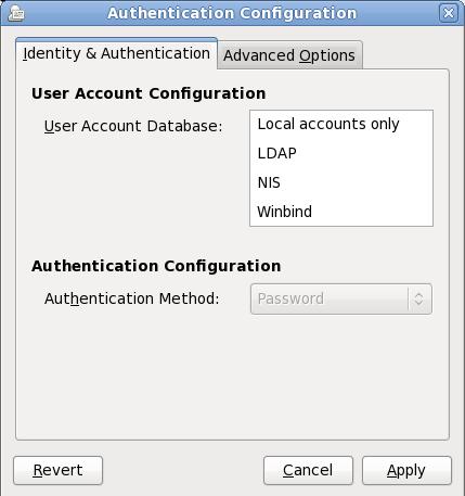 Écran Firstboot «Configuration de l'authentification»