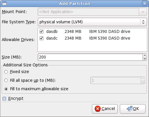 Créer un volume physique LVM