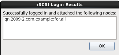 Il dialogo Risultati di login iSCSI