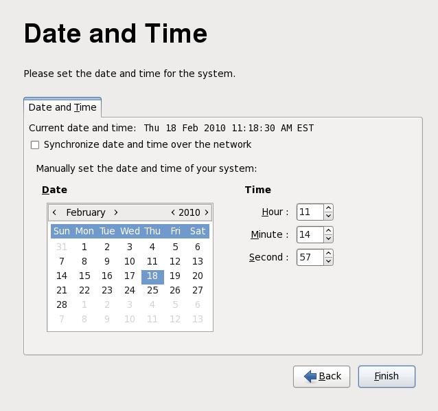 Schermata di data e ora di Firstboot